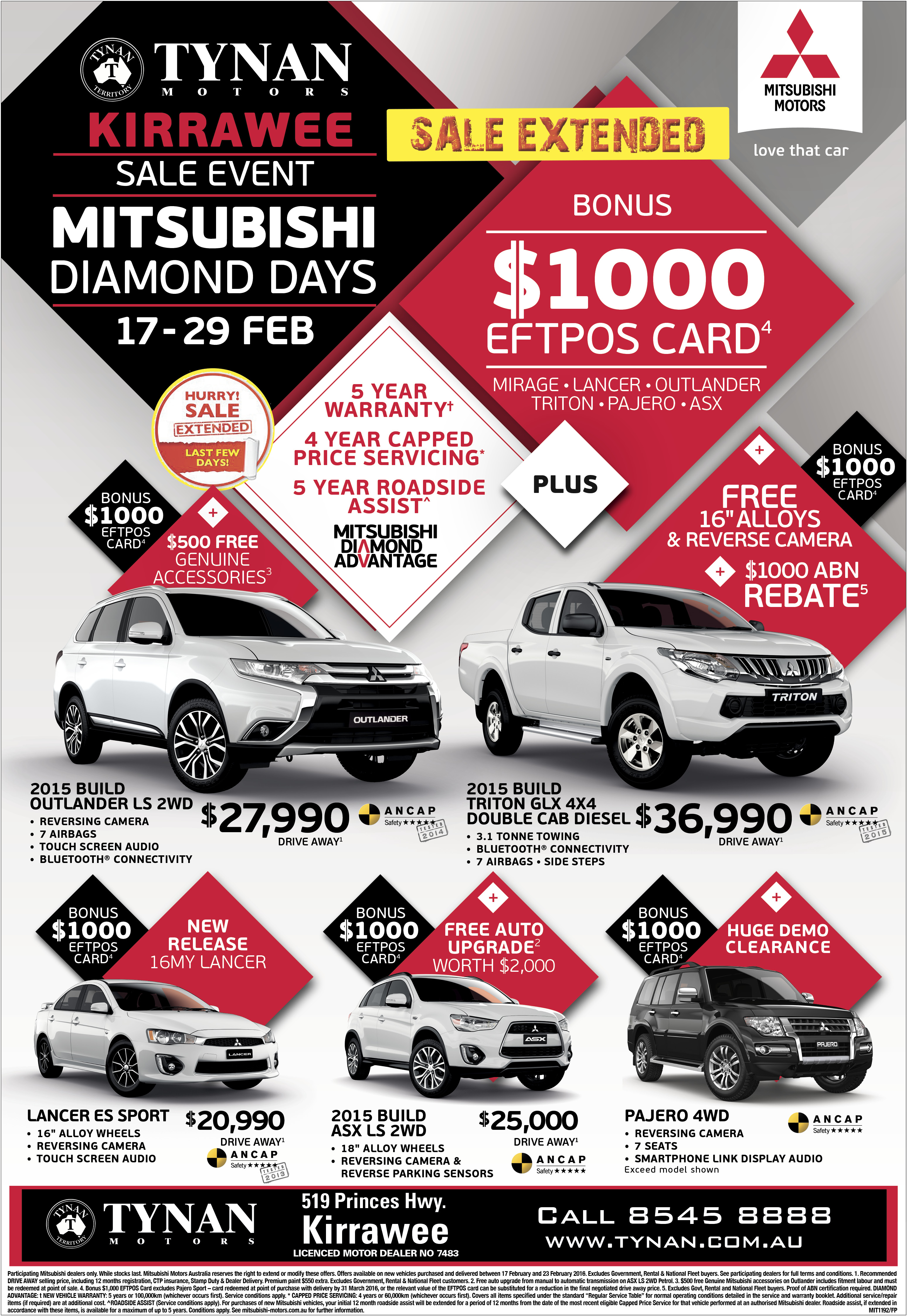 Mitsubishi diamond days sale